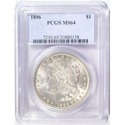 1896 MORGAN SILVER DOLLAR MS64 PCGS