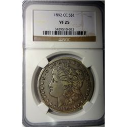 1892-CC MORGAN SILVER DOLLAR NGC VF-25