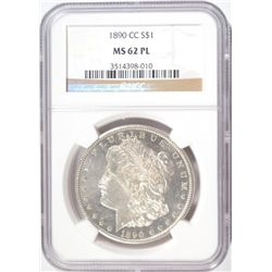 1890-CC MORGAN SILVER DOLLAR NGC MS62 PL NICE!