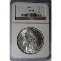 1889 MORGAN DOLLAR NGC MS65 GEM WHITE