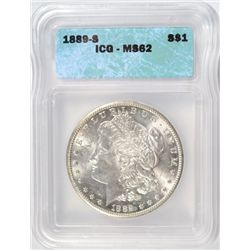 1889-S MORGAN DOLLAR ICG MS-62