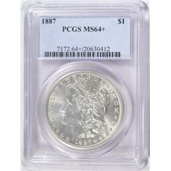 1887 MORGAN DOLLAR MS64+ PCGS
