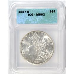 1887-S MORGAN SILVER DOLLAR ICG MS62 NICE