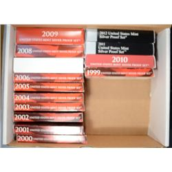 1999 THRU 2012 U.S. SILVER PROOF SETS, ALL IN NICE ORIGINAL PACKAGING