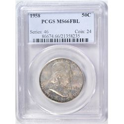 1958 FRANKLIN HALF DOLLAR PCGS MS66 FBL!