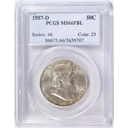 1957-D FRANKLIN HALF DOLLAR PCGS MS66 FBL!