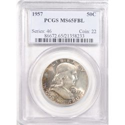 1957 FRANKLIN HALF DOLLAR PCGS MS65FBL