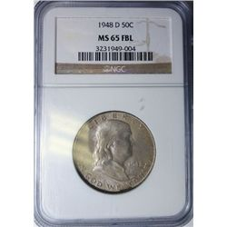 1948-D FRANKLIN HALF DOLLAR NGC MS65FBL SUPER!