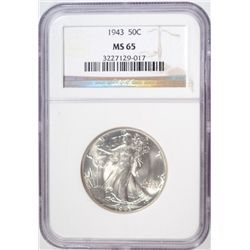 1943 WALKING LIBERTY HALF DOLLAR NGC MS65