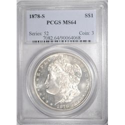 1878-S MORGAN SILVER DOLLAR PCGS MS64