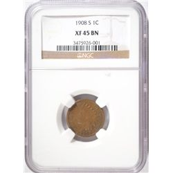 1908-S INDIAN ONE CENT NGC XF-AU 45
