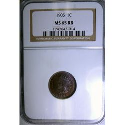 1905 INDIAN ONE CENT NGC MS65RB, SUPER!
