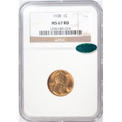 1938  Lincoln penny NGC67 RED  PCGS price guide $250