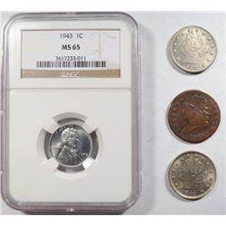 1902 AU55-1883 N/C AU  V 5 cent also 1943 Lincoln penny NGC65