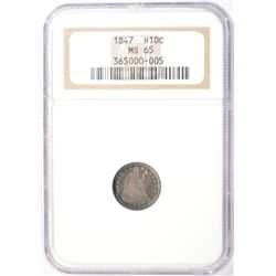 1847  1/2 dime NGC65  RARE RARE RARE almost impossible to find this series