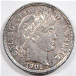 1901  Barber dime Solid BU with lite hairlines obv only