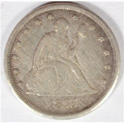1875CC  20 center  VF everywhere except LIBERTY normal for this date