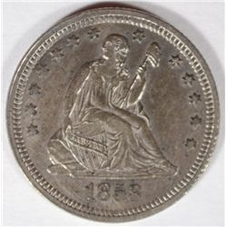 1858  Seated   quarter  XF45
