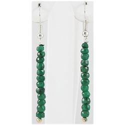 14.37ct Single Faceted Emerald Silver Hook Earring