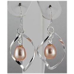 Natural 3.94g Pearl Spiral Dangling Silver Earring