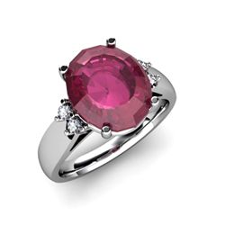 Ruby 6.00 ctw & Diamond Ring 14kt White Gold