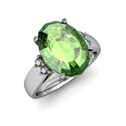 Tourmaline 6.80 ctw & Diamond Ring 14kt White Gold