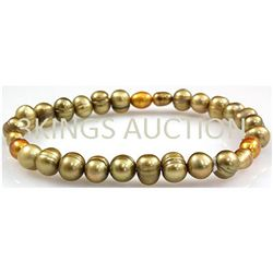 67.29ctw Natural Rice Freshwater Pearls Bracelet