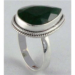 31.86ct Natural Pear Emerald Sterling Silver Ring