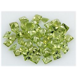 Peridot 15.34 ctw Loose Gemstone 4x4mm Princess Cut
