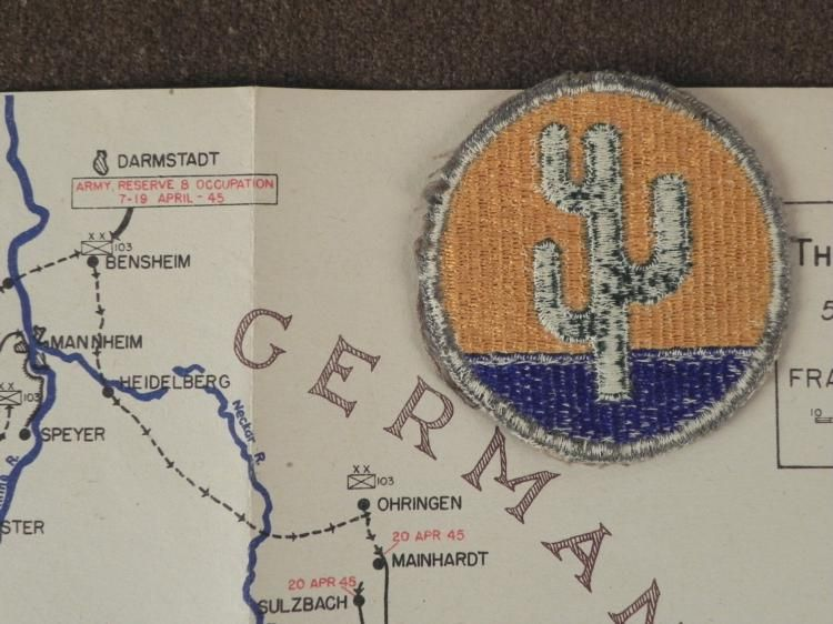 WWII 103RD DIV US ARMY MAP CACTUS ROUTE GERMANY PATCH