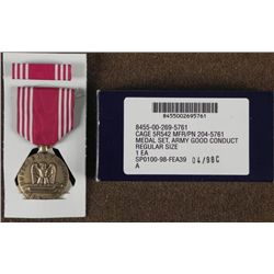 US GOOD CONDUCT MEDAL AND RIBBON BAR WITH ORIGINAL BOX