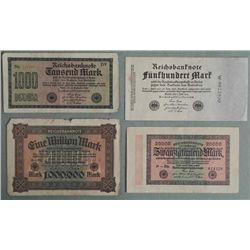 4 Different German 1923 Paper Money