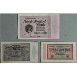 3 Very Hi-Grade German Paper Money 1923