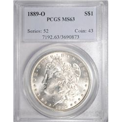 1889-O MORGAN SILVER DOLLAR PCGS MS63