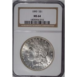 1890 MORGAN SILVER DOLLAR NGC MS 64