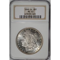 1890-CC MORGAN SILVER DOLLAR NGC MS 63