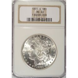 1891-S MORGAN SILVER DOLLAR NGC MS63