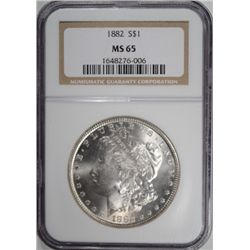 1882 MORGAN SILVER DOLLAR NGC MS 65 SUPER!