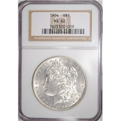 1904 MORGAN SILVER DOLLAR NGC MS62