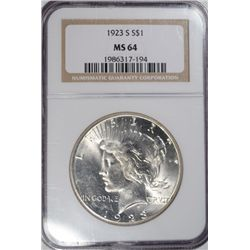 1923-S PEACE SILVER DOLLAR NGC MS64