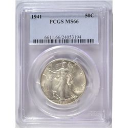 1941 WALKING LIBERTY HALF DOLLAR PCGS MS-66 SUPER GEM!