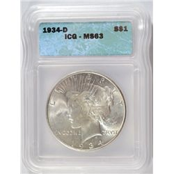 1934-D PEACE DOLLAR ICG MS63 NICE! EST. $315-$330