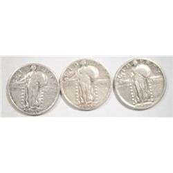 THREE STANDING LIBERTY QUARTERS:THE 1926 VF, 1917 T-2 XF, 1928-S VF