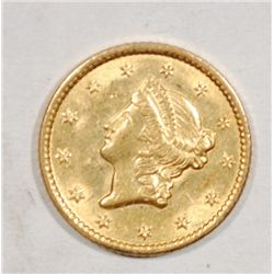 1849 $1.00 LIBERTY GOLD GEM BU, NICE
