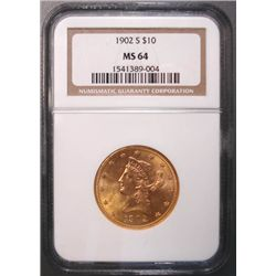 1902-S $10.00 LIBERTY GOLD COIN, NGC MS 64 SUPER!