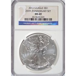 2011-S SILVER EAGLE 25TH ANNIVERSARY NGC MS 69