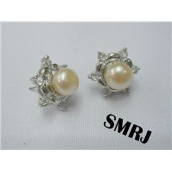 PEARL PEARL WITH 6 CZ SILVER EARRINGS; METAL: SILVER; P