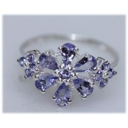 9.10 CTW TANZANITE RING .925 STERLING SILVER