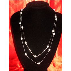 NATURAL 50.00 CTW FLOATING WHITE PEARL NECKLACE