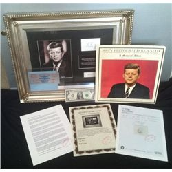 JOHN F KENNEDY SIGNATURE UNUSED INAUGURATION TICKET &amp; LOCK OF HAIR COLLECTION